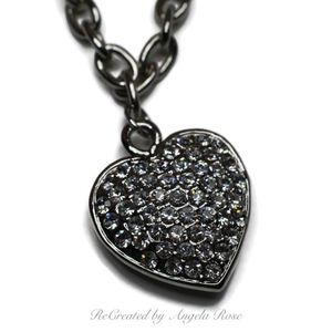 Silver Tone with Rhinestone Heart Necklace